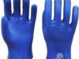蓝磨砂手套 PVC浸塑手套 挂胶磨砂防滑耐磨 工业防化学