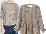 2014春夏新款欧美花朵印花七分袖圆领雪纺衫 荷叶边下摆上衣