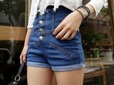 夏季新款女装单排扣高腰牛仔短裤韩版大码修身包臀显瘦卷边热裤潮