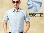高档品质2015夏装新款男士短袖衬衫双丝光纯棉格子免烫半袖衬衣男