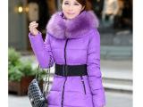 冬装韩版加厚中长款可拆卸大毛领羽绒棉服 大码女装棉衣 外套