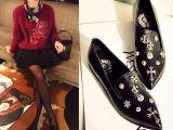 欧洲站低跟真皮女式浅口单鞋克罗心尖头女单鞋克家小姐爆款女鞋