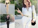 2014秋装新款韩版女装衣服 时尚假两件V领长袖连体裤 休闲裤女