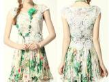 夏装新款女装蕾丝雪纺碎花短袖拼接百褶连衣裙 气质显瘦雪纺裙
