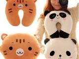 地摊热卖 毛绒玩具批发 熊猫颈枕 u形枕 U型午休枕 午睡汽车颈