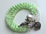 清凉一夏热卖树叶手链 三圈天然石绿水晶珍珠手串 女 配饰品批发