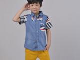 2014夏季新款儿童短袖衬衣 男童中小童韩版潮牛仔短袖条纹衬衫