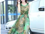 2015夏季女装新款印花长裙夏装波西米亚无袖连衣裙528节批发促