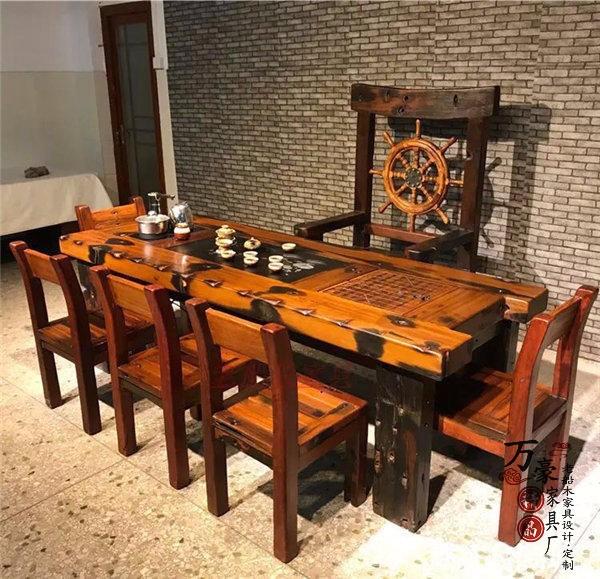 船木茶桌茶台客厅阳台户外办公家具实木古典功夫茶几椅组合