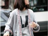 2014刘诗诗同款春季时尚街拍小香风羊绒灰色针织开衫彩色编织毛衣