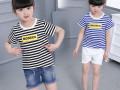 三元童装批发海绵宝宝卡通印花可爱童装短袖批发低价儿童服装货源