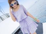 2014春夏连衣裙新款打底女式波西米亚沙滩短裙海边度假露肩裙