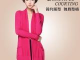 厂家直销 韩版开衫外套女 中长款纯色双口袋宽松女式针织开衫