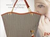 秋季韩版新款女包链条帆布条纹单肩潮包外贸出口大包厂家包包批发