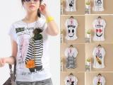 厂家批发春夏新款韩版加大码女装宽松蝙蝠衫上衣圆领图案t恤短袖
