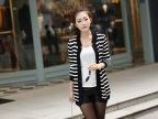 一件代发韩版新款女装条纹中长款开衫针织衫披肩毛衣长袖外套批发