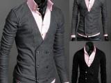 潮流时尚商务男士上衣 个性气质男装 休闲双排扣V领开衫卫衣