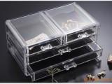 透明可拆卸,双层抽屉化妆品收纳盒,首饰收纳盒,亚克力收纳盒