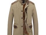 2014 冬季新款男士立领风衣潮修身风衣加绒加厚英伦中长款大衣