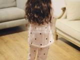 女童家居服套装 卡通波点家居服法兰绒套装 韩版法兰绒睡衣