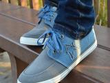 飞耐新款男鞋百搭拼色镂空平底牛筋系带板鞋 低帮帆布鞋批发K025