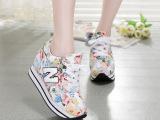 品牌韩国厚底女单鞋 花朵n字鞋女松糕鞋增高帆布鞋女 运动鞋