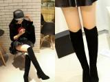 欧美秋冬季长筒靴子女真皮过膝靴高跟尖头长靴高筒弹力显瘦女靴子