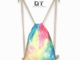 DY双肩背包帆布包渐变梦幻星空糖果色印花休闲抽绳包运动背包