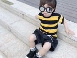 4元夏季韩版新款童装条纹短袖t恤男女儿童打底衫地摊货源批发