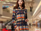 2014秋季女装上衣新款格子衬衫女韩版少女学生装长袖大码衬衫批发