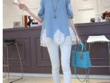 2014镶钻蕾丝假两件 圆领短袖牛仔衬衫