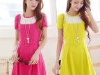 韩国代购夏装新品连衣裙拼接褶皱收腰热销连衣裙一件代发88127