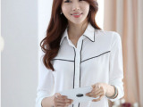 韩版大码女装 2014秋装新款韩国热卖职业装长袖衬衫女雪纺衫批发