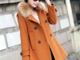 2014秋冬新款韩版 呢大衣女 貉子毛领斗篷中长款呢子外套一件代
