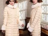 2013新款韩版兔毛领羽绒服 修身中长款女羽绒衣 加厚 正品批发