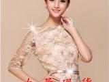 韩版春装新品金线蕾丝刺绣中袖裙子欧根纱连衣裙