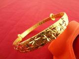 镀金色满天星手镯 苗银推拉手镯 高仿黄金手饰 地摊饰品货源