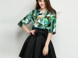 欧洲站精品女装夏季    印花上衣+蝴蝶结短裙套装女潮 代理加盟