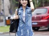 2014夏季新款中长款牛仔马甲女夏 韩版马夹背心无袖外套潮
