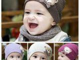 韩版宝宝帽子 蝴蝶结小熊点点套头帽 儿童包头帽 婴儿帽子 纯棉帽