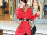 2014韩版最新女中长款超大毛领修身显瘦加厚羽绒服正品清仓特价潮