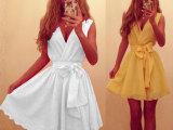 欧洲站新款深V无袖雪纺大摆裙 ebay热卖休闲派对迷你裙