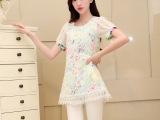 2014夏季新款cc蕾丝衫欧根纱连衣裙短袖大码女装dd小香风A字
