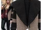 2013新秋冬欧美明星女短外套潮 百搭 加厚毛昵拼接羊羔毛外套