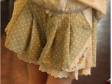 春夏韩版 学院风蝴蝶波点结短裙裤百褶荷叶边系带松紧腰裙裤批发