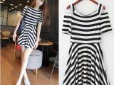 2014夏装新款 韩国版高腰超显瘦 露肩设计一字领条纹连衣裙