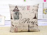 现货直销批发靠枕 欧式复古棉麻抱枕 数码印花埃菲尔铁塔沙发靠垫