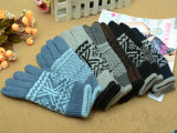 冬季热销毛线针织保暖分指手套 男款双层加绒五指手套 全指手套