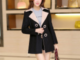 实拍秋冬新款女装外套 韩版女式羊毛呢子中长款翻领毛呢大衣