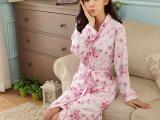 2014春秋新款长袖睡衣睡袍两件套 性感甜美风家居服批发